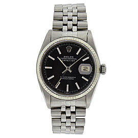 Rolex Datejust 16014 Stainless Steel Black Stick Dial Mens Watch