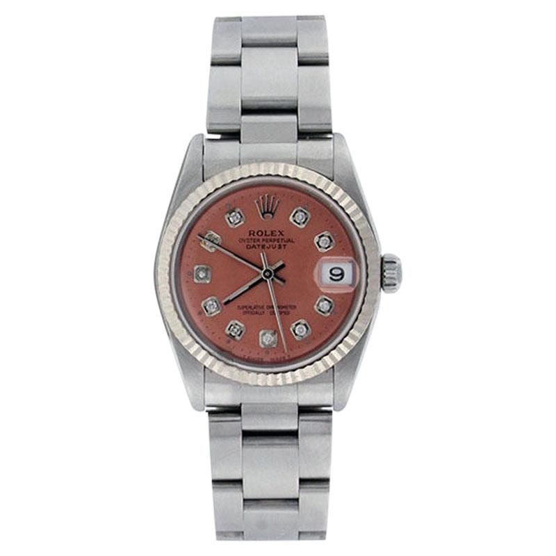 """""Rolex Datejust Oyster 78274 Midsize Stainless Steel Salmon Diamond"""""" 297731"