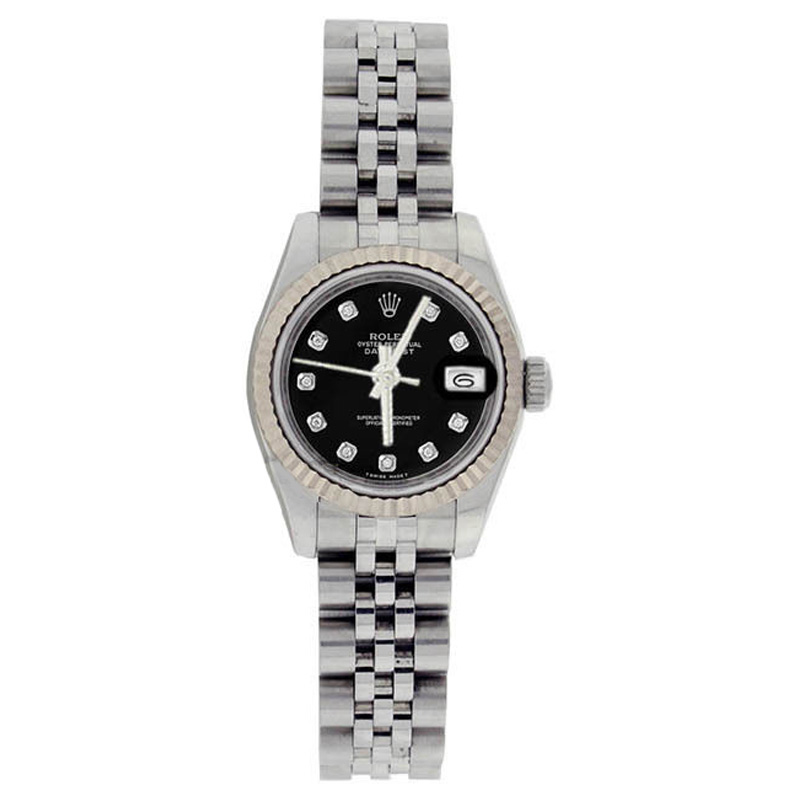 """Image of """"Rolex Stainless Steel Datejust 179174 Black Diamond Dial Gold Fluted"""""""