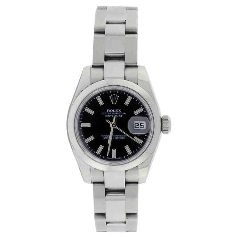 "Image of ""Rolex Datejust 179160 Stainless Steel Black Stick Smooth Bezel Ladies"""