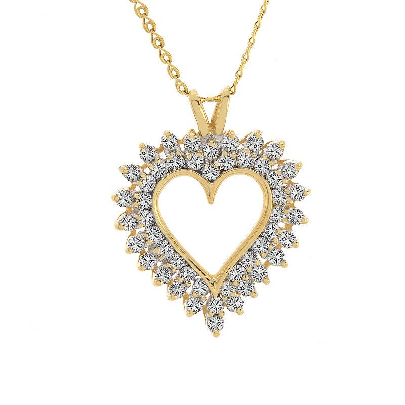 "Image of ""14K Yellow Gold Round Brilliant Diamond Heart Pendant"""