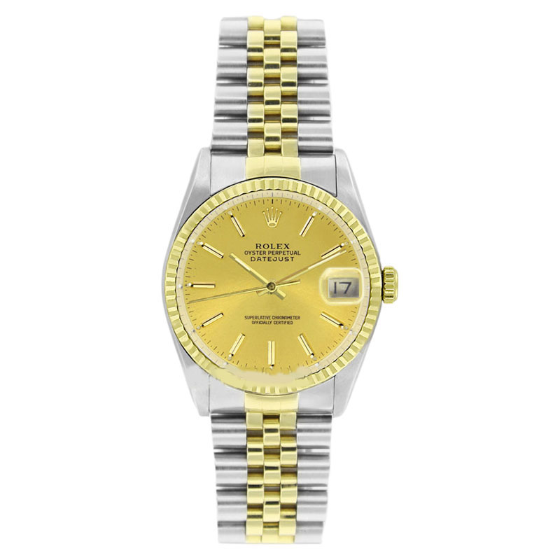 "Image of ""Rolex Datejust 16013 Stainless Steel & Gold Champagne Stick Dial 18K"""