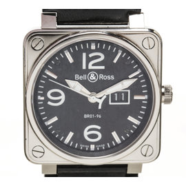 Bell & Ross BR01-96 Black Leather Stainless Steel Men`s Watch