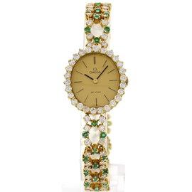 Omega De Ville 18K Yellow Gold Diamonds & Emeralds Ladies Watch