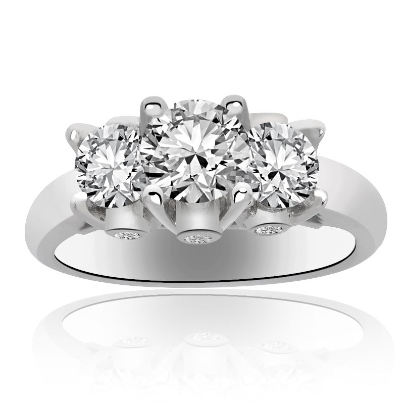 "Image of ""14K White Gold Round Cut Diamond Three Stone Ring"""
