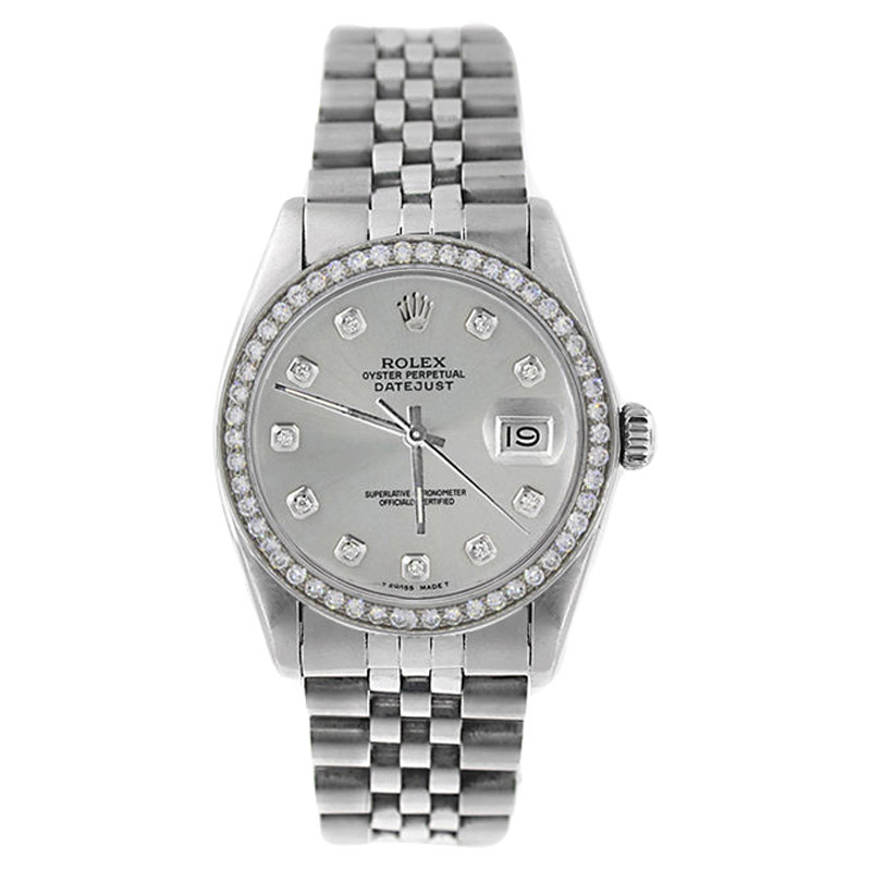"Image of ""Rolex Datejust 16014 Stainless Steel Silver Diamond Dial & 1CT Diamond"""