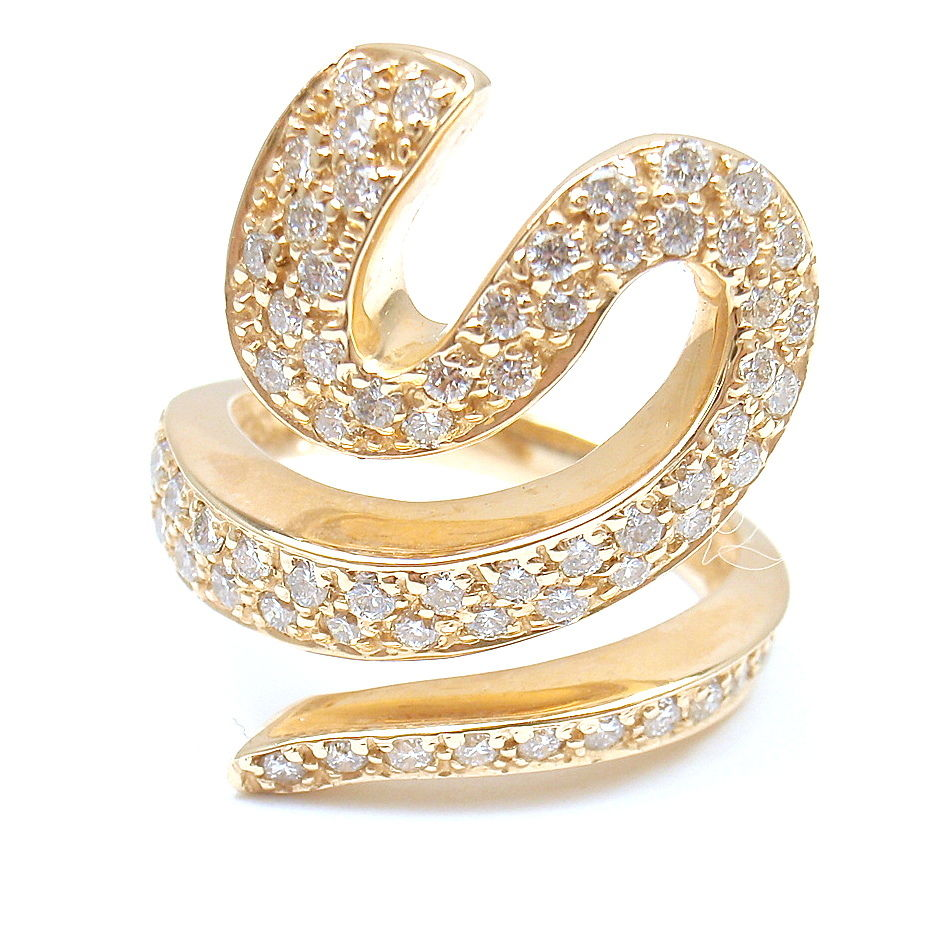 "Image of ""Sonia B. 14K Yellow Gold Pave Diamond Spiral Wave Ring"""