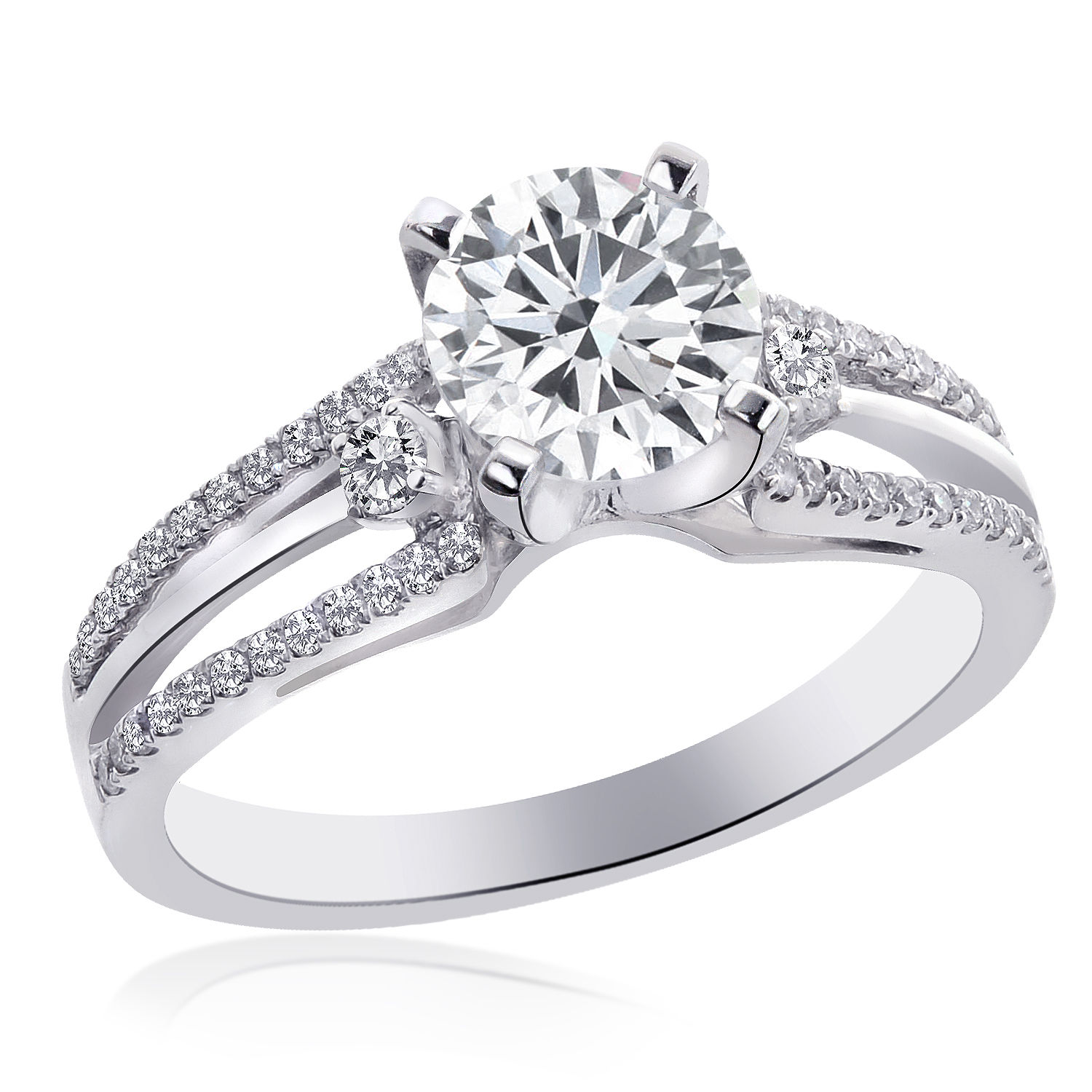 "Image of ""18K White Gold Natural Round Diamond Split Shank Ring"""