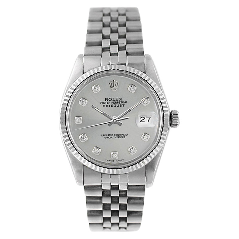 """Image of """"Rolex Datejust 16014 Stainless Steel Silver Diamond Dial 18K Gold"""""""