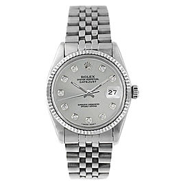 Rolex Datejust 16014 Stainless Steel Silver Diamond Dial 18K Gold Fluted Bezel Mens Watch