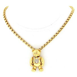 Chopard 18K Yellow Gold and Diamond Teddy Bear Necklace