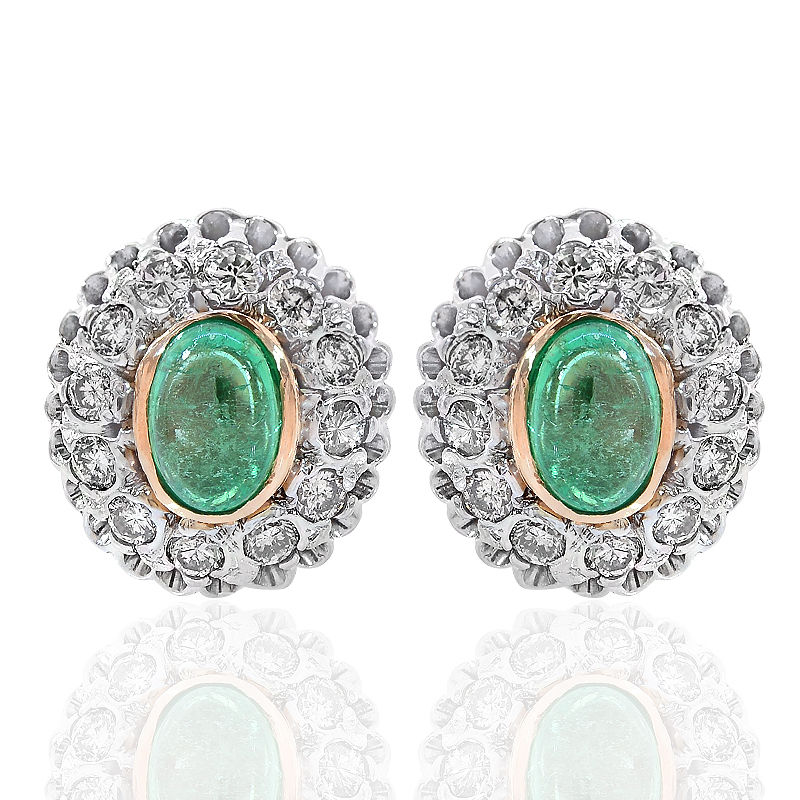 """""14K Two Tone Gold 1.00 ct. Emerald and Diamond Framed Stud Earrings"""""" 408576"