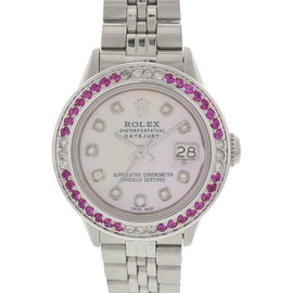 Rolex Datejust Stainless Steel Diamond & Ruby Bezel 6517