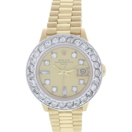 Rolex Date 6917 18K Yellow Gold President Diamonds Womens Watch
