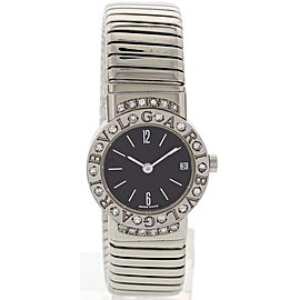 Bulgari Stainless Steel Tubogas Bangle with Diamonds Womens Watch