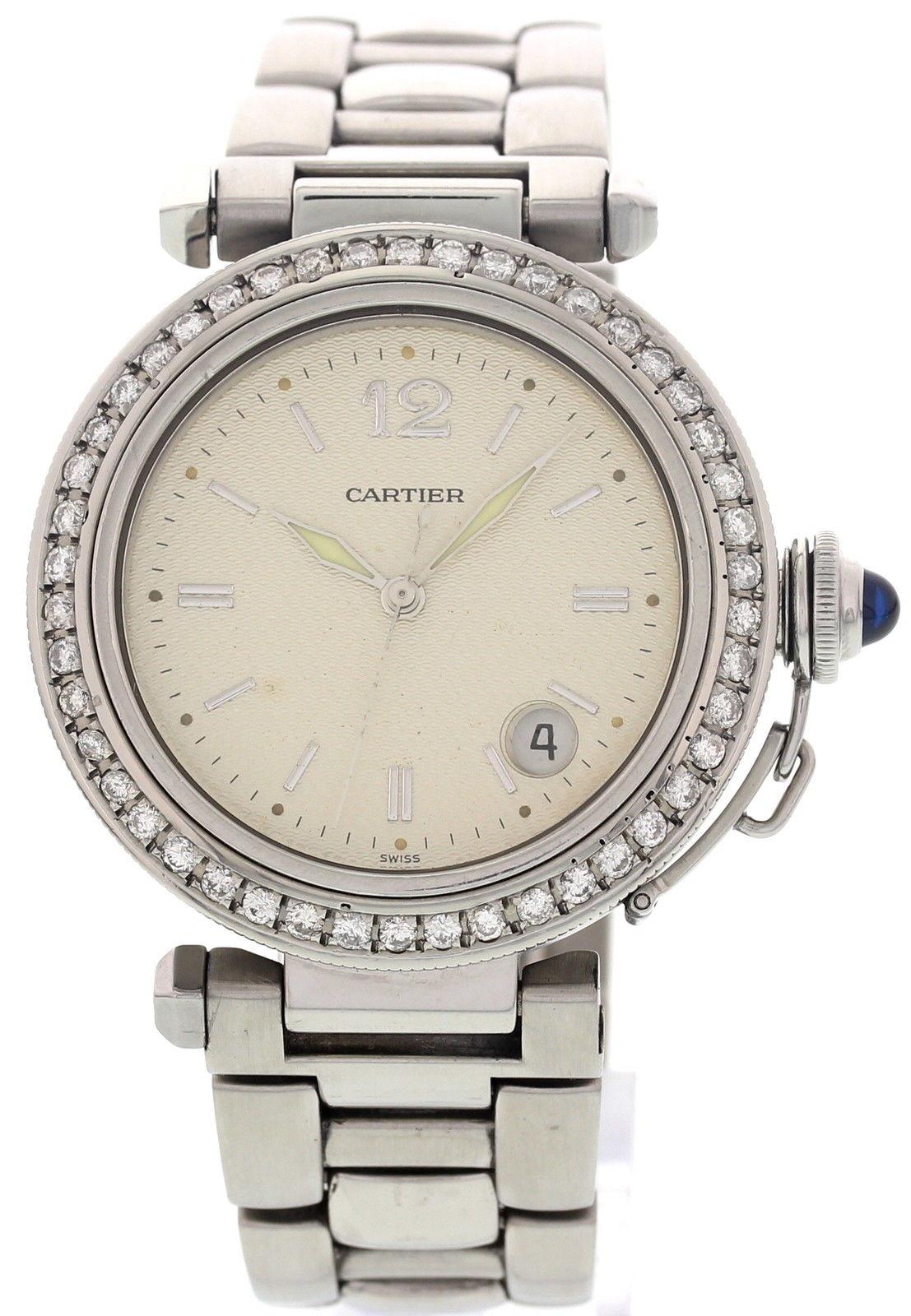"Image of ""Cartier Pasha de 1040 Stainless Steel Diamonds Womens Watch"""