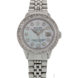 Rolex Oyster Perpetual Datejust 16014 Diamond Bezel Womens Watch