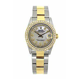 Rolex Datejust 68273 Gold Stainless Steel 2.5 ct Diamond Gold Bezel 31mm Midsize Watch