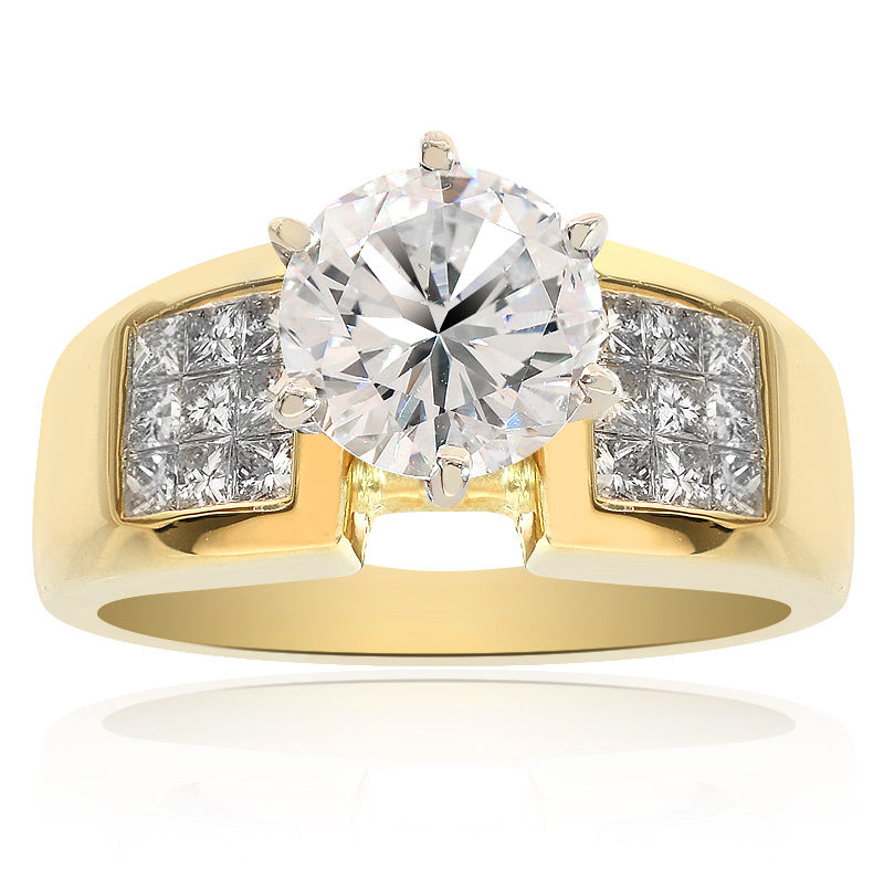 "Image of ""18K Yellow Gold Natural Round Cut Diamond Engagement Ring"""
