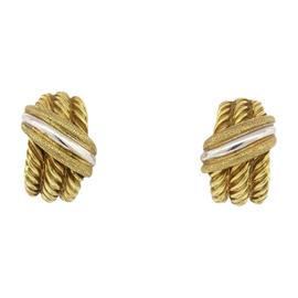 David Yurman 14K Gold Cable Triple Row Shrimp Hoops Drop Earrings