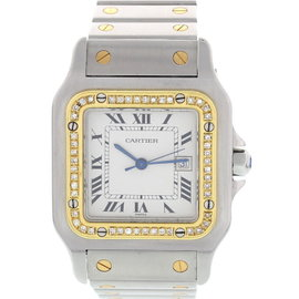 Cartier Santos 1172961 18K Yellow Gold & Stainless Steel With Diamonds Mens Watch