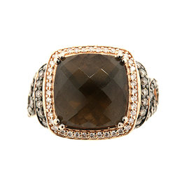 Levian 14K Rose Pink Gold Cushion Smokey Quartz Brown White Diamond Ring