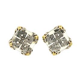John Hardy Sterling Silver 18K Yellow Gold Lens Pave Diamond Earrings