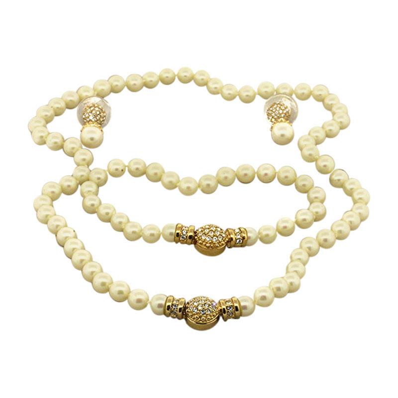 """Image of """"Christian Dior Faux Pearl Necklace Strand Bracelet Earrings 3 Piece"""""""