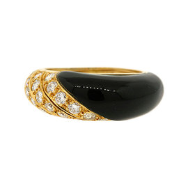Van Cleef & Arpels Black Onyx & Diamond Ring Domed Band