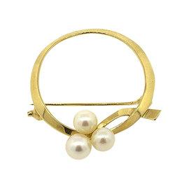 Mikimoto 18K Yellow Gold 3 Pearl Pin Brooch