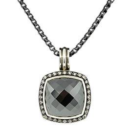 David Yurman Sterling Silver Albion Hematine Diamond Black Pendant Necklace