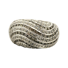 Levian 14K White Gold Domed Chocolate Diamond Wave Band Ring