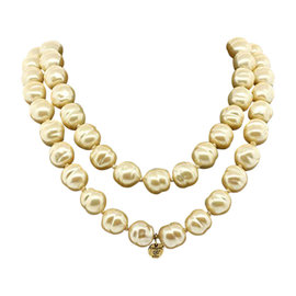 Chanel Gripoix Poured Glass Bead Pearl Strand Necklace