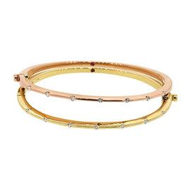 Roberto Coin 18K Yellow or Rose Gold Diamond & Ruby Bangle Bracelet