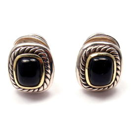 David Yurman 14k Yellow Gold 925 Sterling Silver and Onyx Earrings