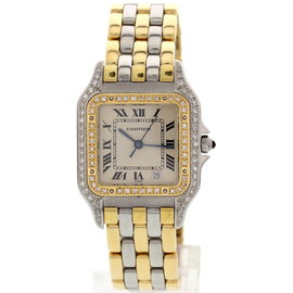 Cartier Panthere 18K Yellow Gold & Stainless Steel W/ Diamonds Womens Watch
