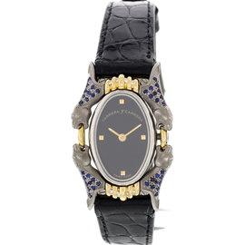 Carrera y Carrera Panther Motif Stainless Steel Sapphire & Diamonds Watch