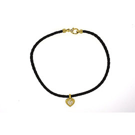 Judith Ripka 18K Yellow Gold Diamond Heart Choker Leather Cord Necklace