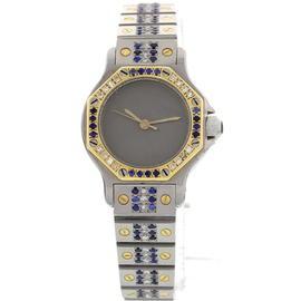Cartier Santos 18K Yellow Gold Stainless Steel Diamond Blue Sapphire Womens Watch