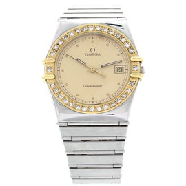 Omega Constellation 18K Yellow Gold Stainless Steel Diamond Men's Watch