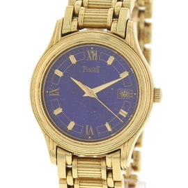 Piaget Polo 18K Yellow Gold Lapis Dial Womens Watch