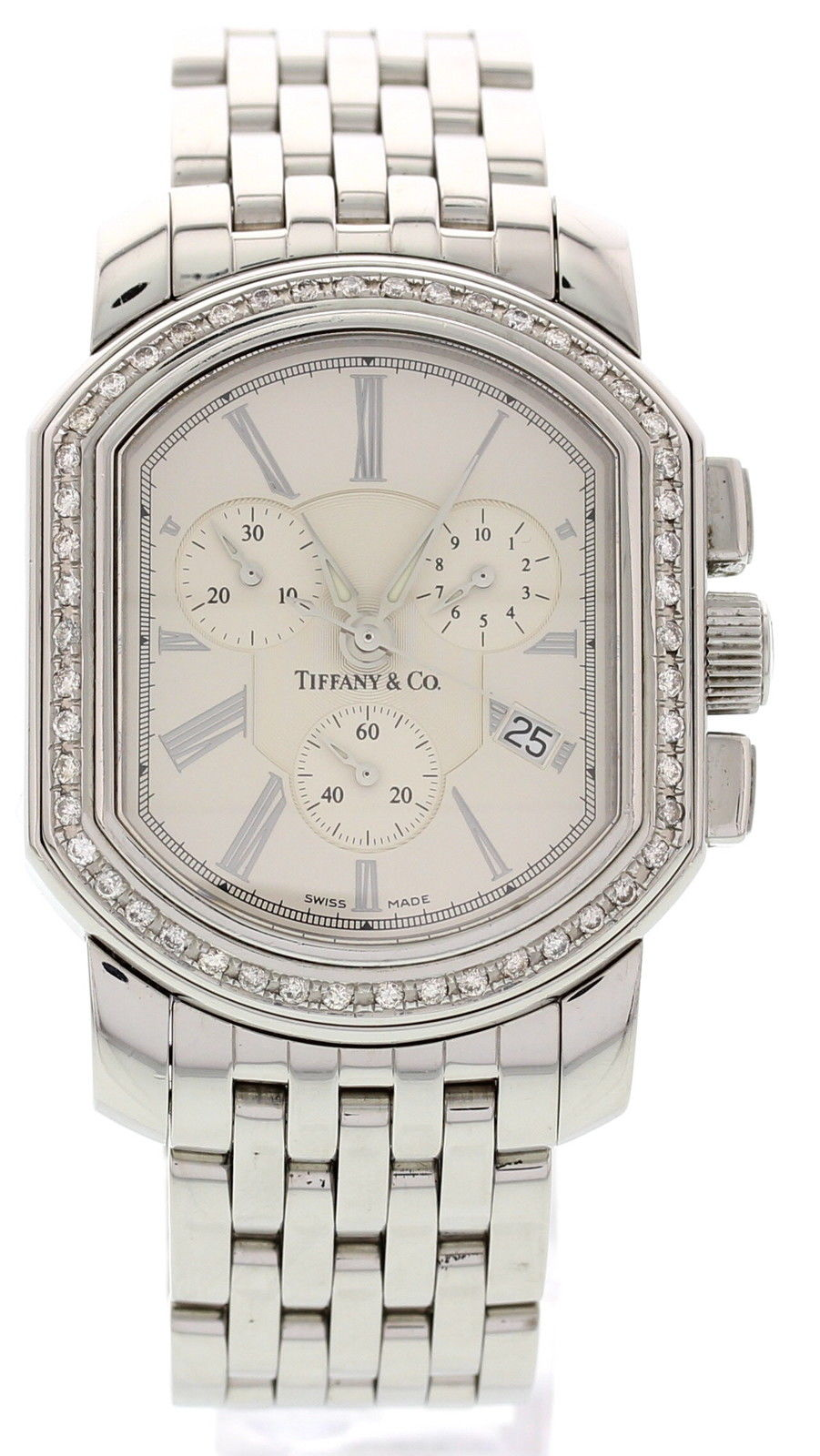 "Image of ""Tiffany & Co. Chronograph w/ Diamonds Stainless Steel Men's Watch"""