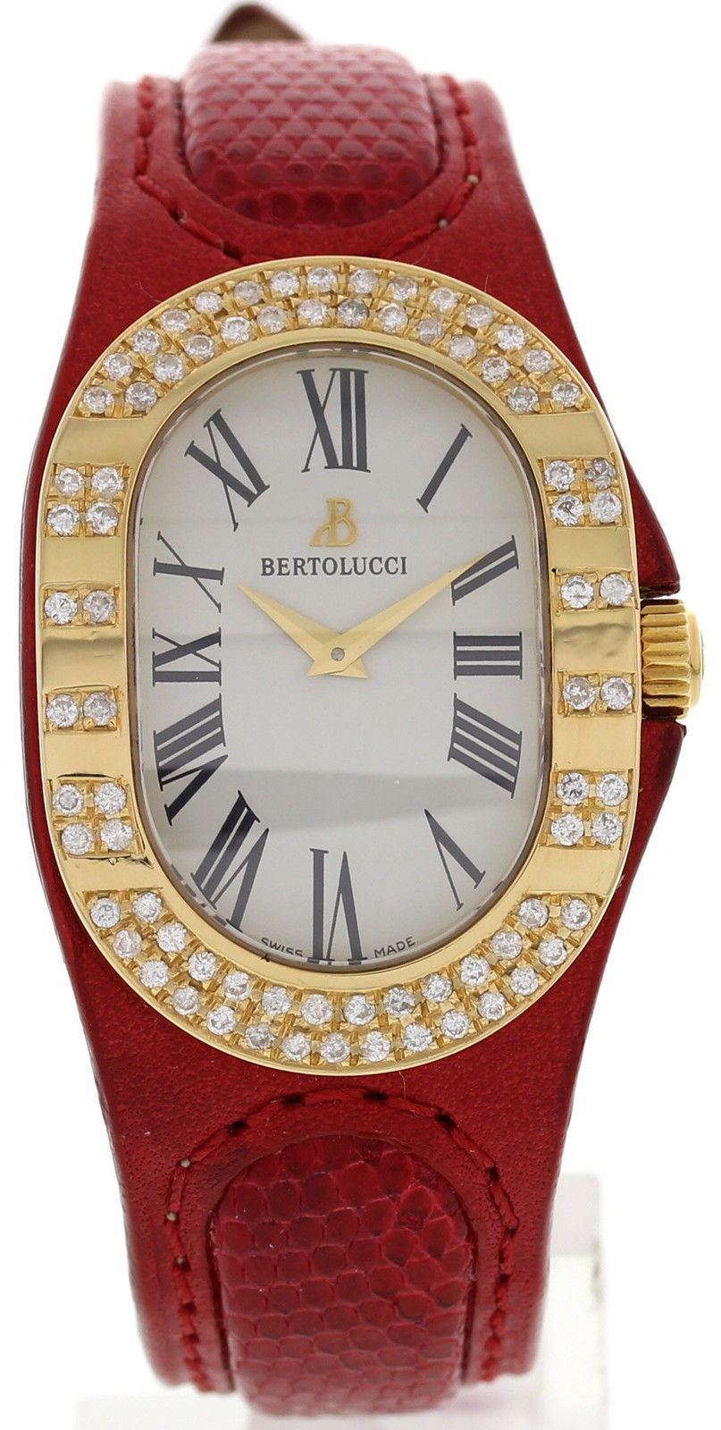 "Image of ""Bertolucci 313 68 504 18K Yellow Gold & Leather Diamonds Quartz 27mm"""