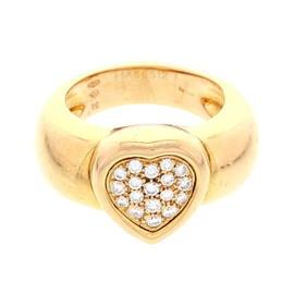 Piaget 18K Yellow Gold Diamond Heart Ring Size 6.75