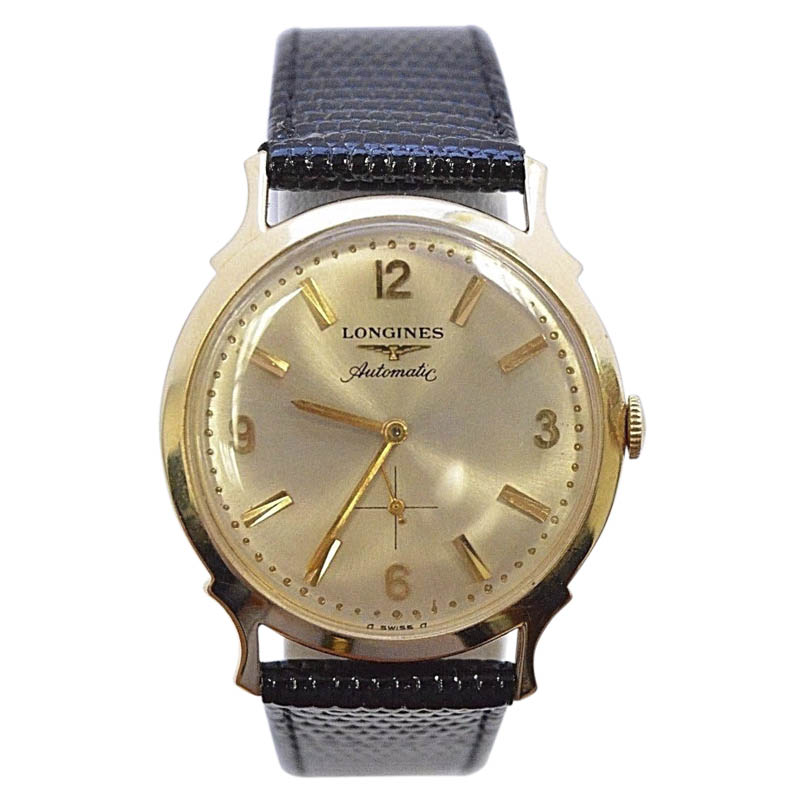 "Image of ""Longines 14K Gold Automatic With Sub Seconds Vintage 32mm Mens"""