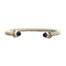 David Yurman Sterling Silver & 14K Yellow Gold With Amethyst Renaissance Cable Cuff Bracelet