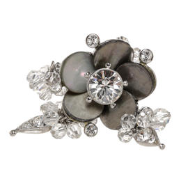 Christian Dior Silver and Gray Crystal Embellished Flower Ring Size 7