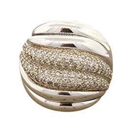 David Yurman Sterling Silver Sculpted Diamond Wide Band Ring