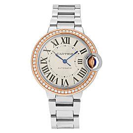 Cartier Ballon Bleu WE902080 18K Pink Gold & Stainless Steel 33mm x 33mm Watch