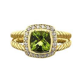 David Yurman 18K Yellow Gold Peridot Diamond Petite Albion Ring